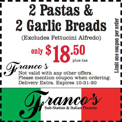 coupon for 2 pasta and 2 garlic breads