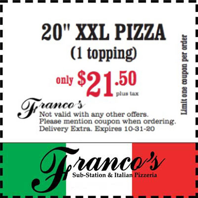 coupon for 20 inch xxl pizza
