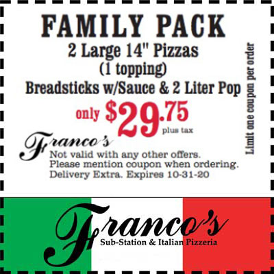 coupon for family pack pizzas