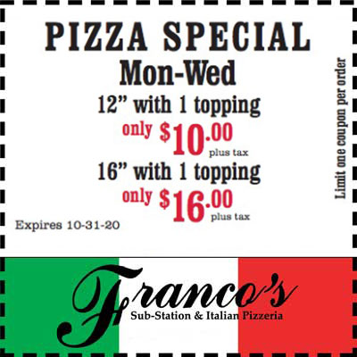coupon for pizza special mon-weds